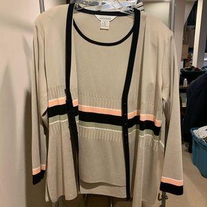 Misook Lightwght cardigan & tank top, L, NWOT $630